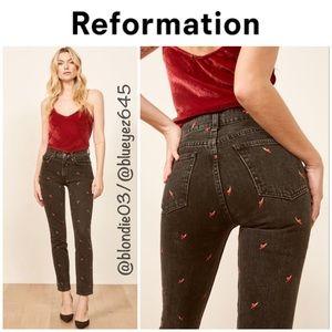 "Reformation ""Julia"" hearts high cigarette jeans 30"